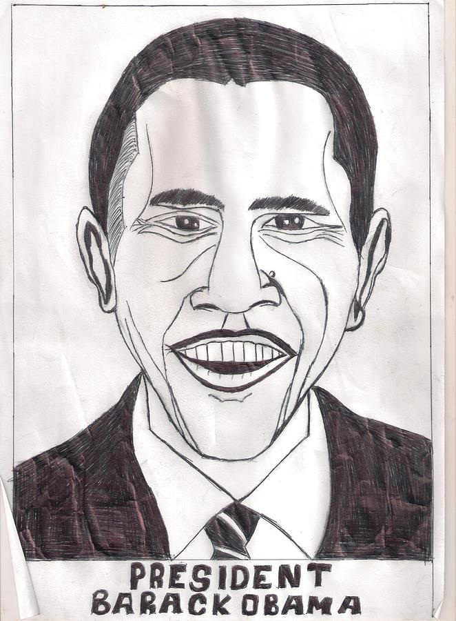 United State President Barack Obama Drawing