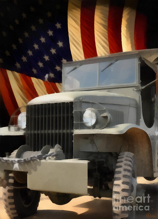 United States Army Truck And American Flag  Painting