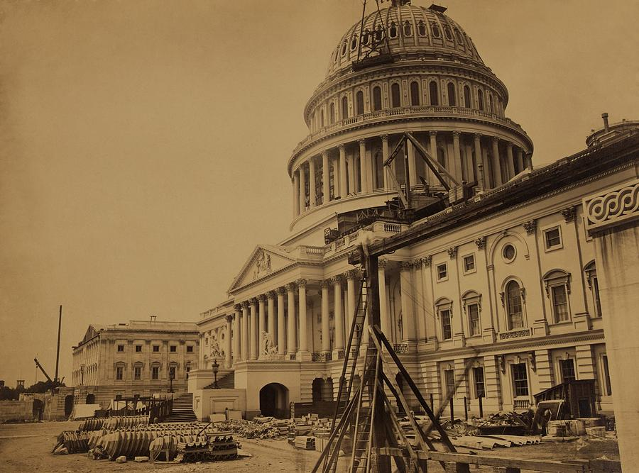 United States Capitol Building In 1863 Photograph