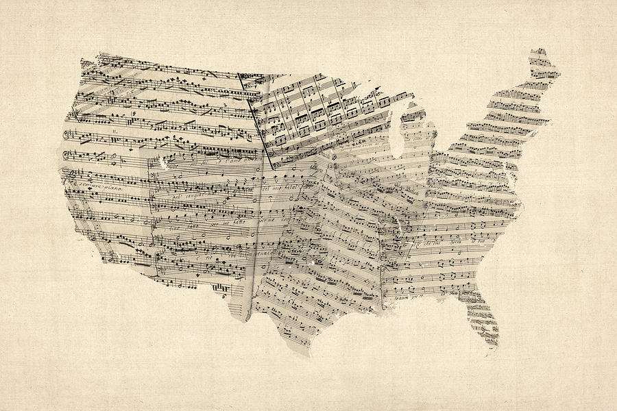 United States Old Sheet Music Map Digital Art
