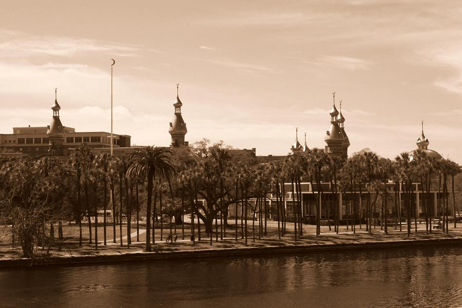 University Of Tampa With River - Sepia Photograph  - University Of Tampa With River - Sepia Fine Art Print