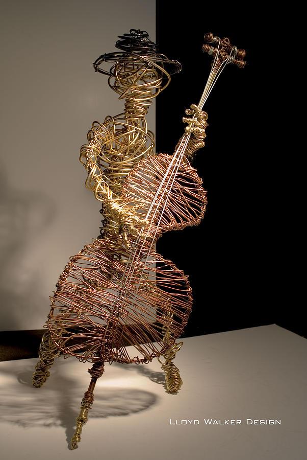 Upright Jazz Bass Player Sculpture