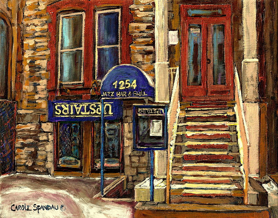 Upstairs Jazz Bar And Grill Montreal Painting  - Upstairs Jazz Bar And Grill Montreal Fine Art Print