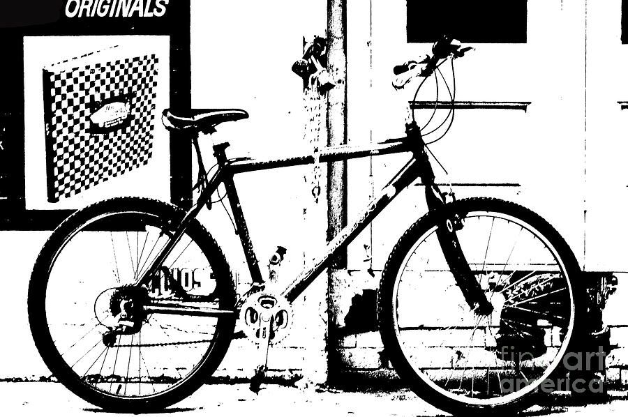 Urban Bicycle Shilhoutte Mixed Media  - Urban Bicycle Shilhoutte Fine Art Print