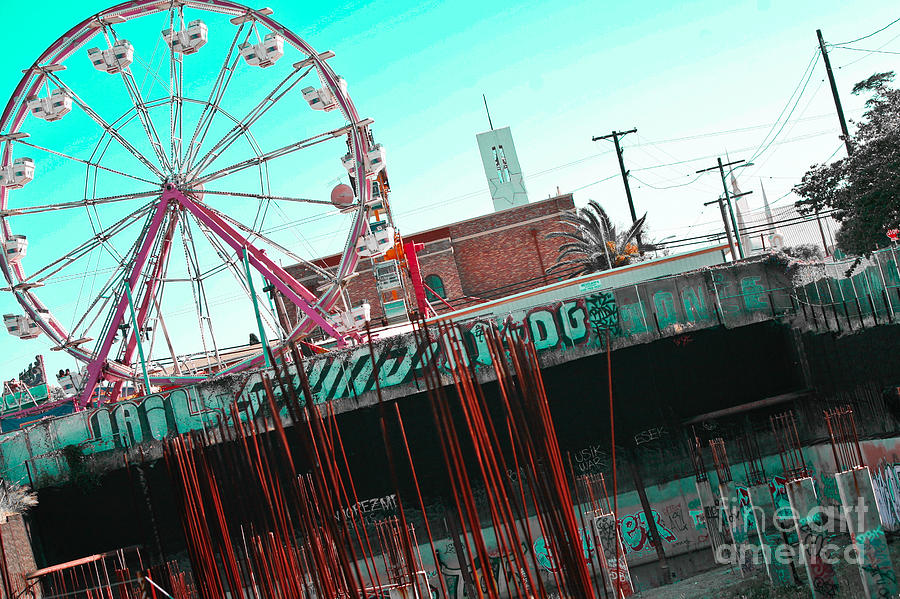 Urban Ferris Wheel With Tinted Sky Photograph