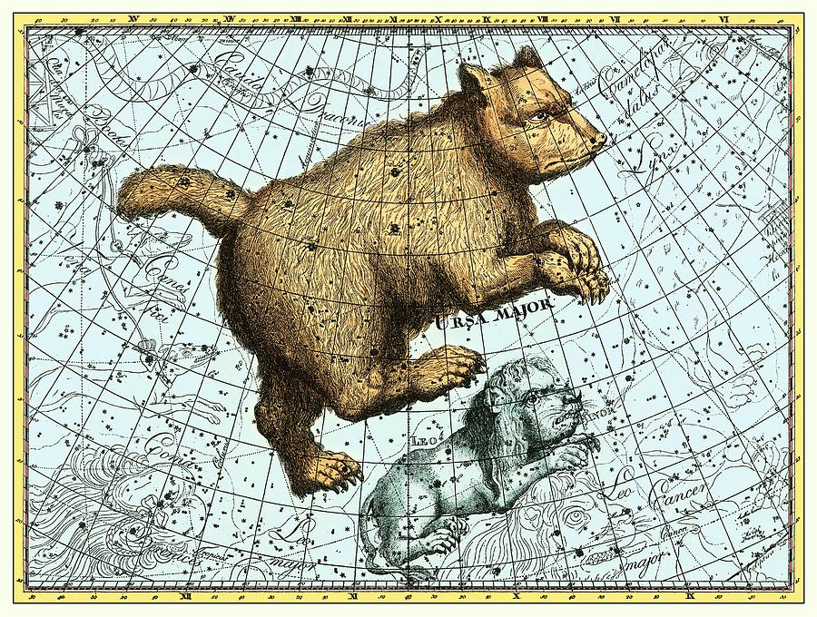 Ursa Major Constellation, Bode Star Atlas Photograph