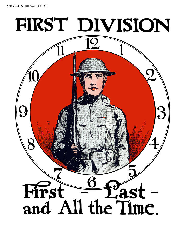 Us Army First Division Painting  - Us Army First Division Fine Art Print