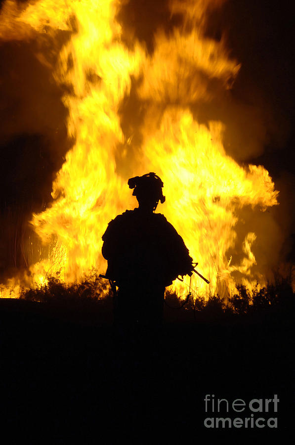 U.s. Army Sergeant Monitors The Flames Photograph  - U.s. Army Sergeant Monitors The Flames Fine Art Print