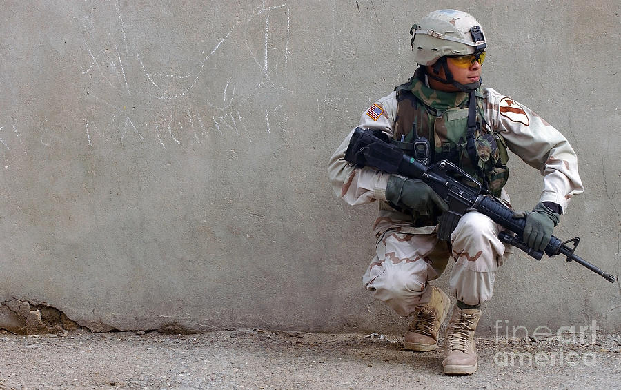 Horizontal Photograph - U.s. Army Soldier Armed With A 5.56mm by Stocktrek Images
