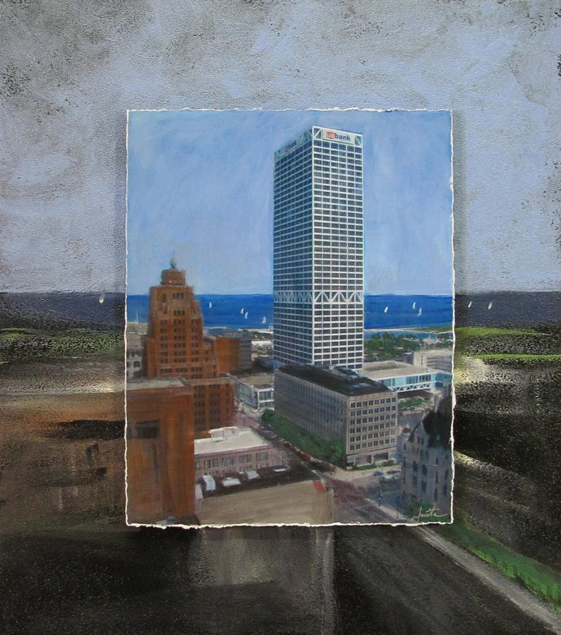 Us Bank Lake Michigan Layered Mixed Media  - Us Bank Lake Michigan Layered Fine Art Print