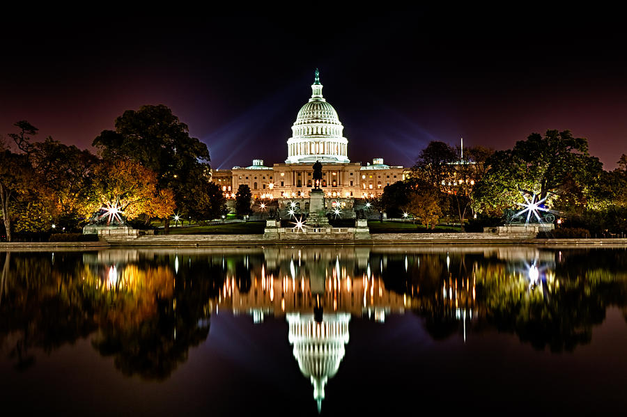 Us Capitol Building And Reflecting Pool At Fall Night 1 Photograph  - Us Capitol Building And Reflecting Pool At Fall Night 1 Fine Art Print