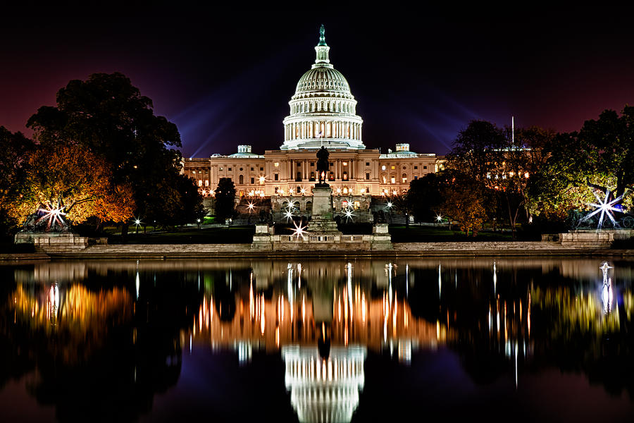 Us Capitol Building And Reflecting Pool At Fall Night 2 Photograph  - Us Capitol Building And Reflecting Pool At Fall Night 2 Fine Art Print
