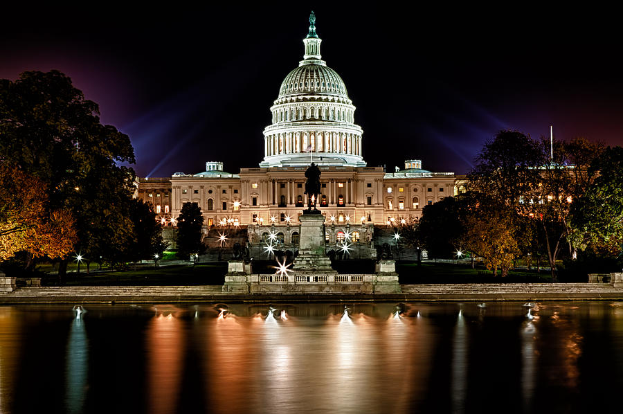 Us Capitol Building And Reflecting Pool At Fall Night 3 Photograph  - Us Capitol Building And Reflecting Pool At Fall Night 3 Fine Art Print