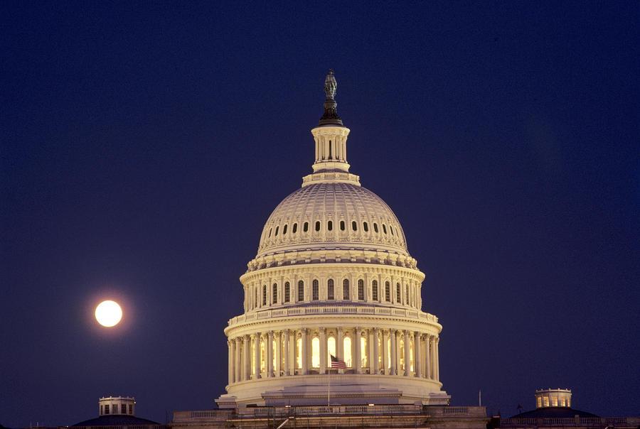 U.s. Capitol Building Lit Photograph