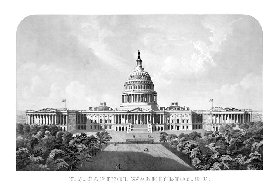 Us Capitol Building Washington Dc Drawing  - Us Capitol Building Washington Dc Fine Art Print