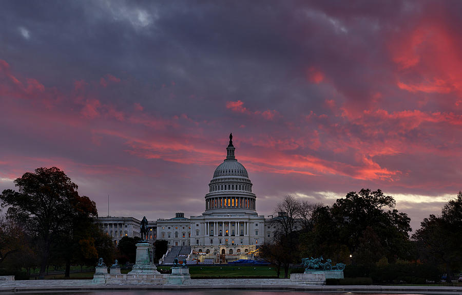 Us Capitol - Pink Sky Getting Ready Photograph