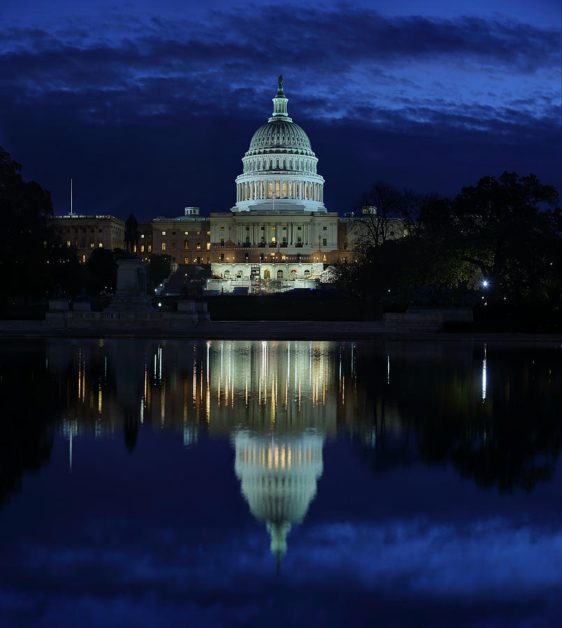 Us Capitol - Pre-dawn Getting Ready Photograph  - Us Capitol - Pre-dawn Getting Ready Fine Art Print