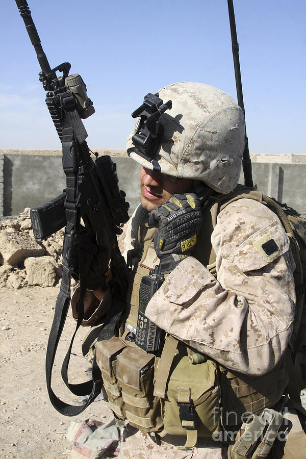 U.s. Marine Communicates With Fellow Photograph  - U.s. Marine Communicates With Fellow Fine Art Print