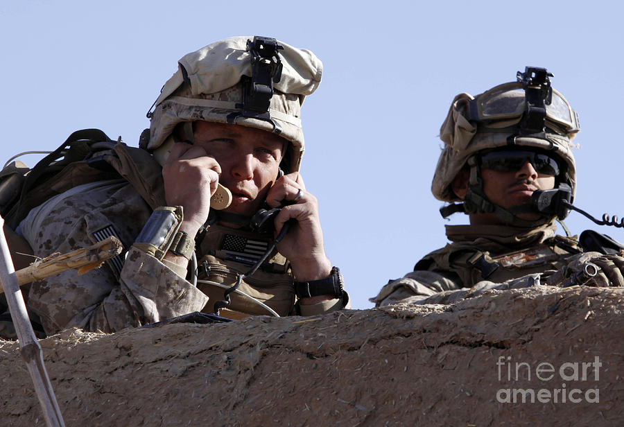 Assault Photograph - U.s. Marine Gives Directions To Units by Stocktrek Images
