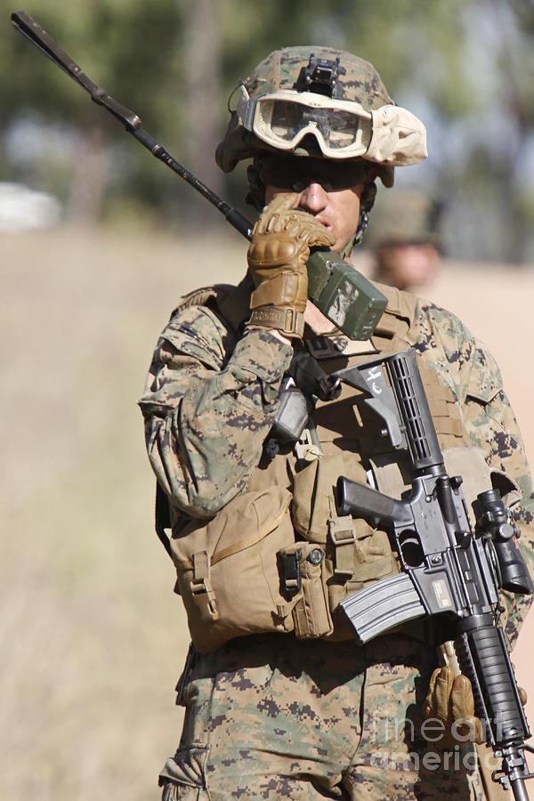 U.s. Marine Radios His Units Movements Photograph