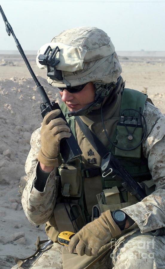 U.s. Marine Uses A Mbitr Anprc-148 Photograph