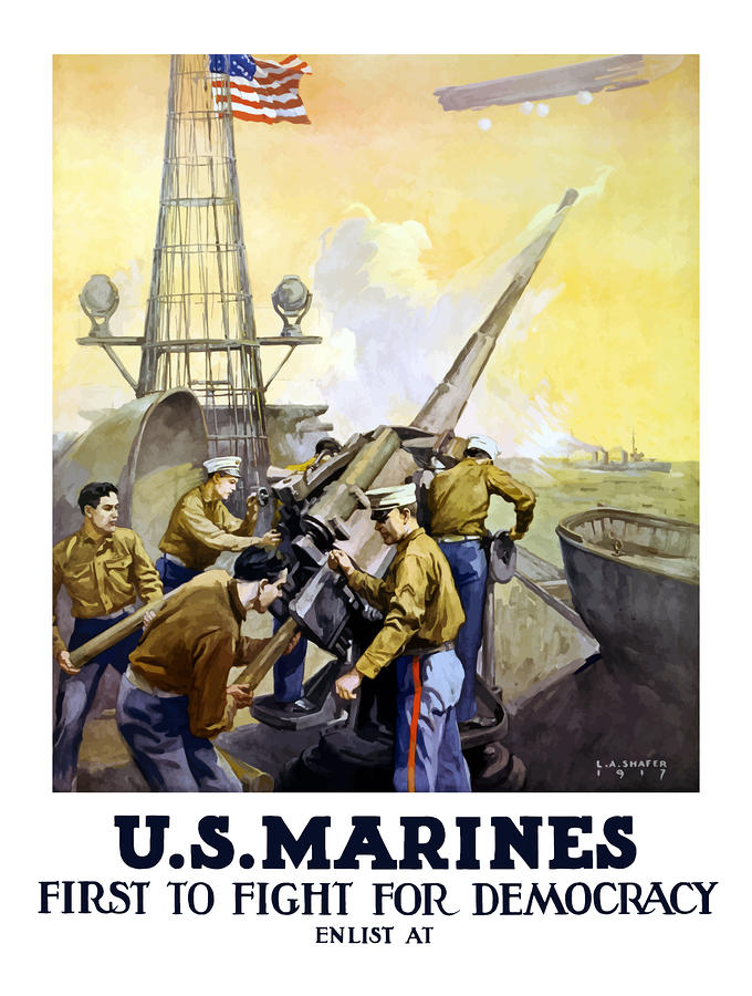 Us Marines -- First To Fight For Democracy Painting