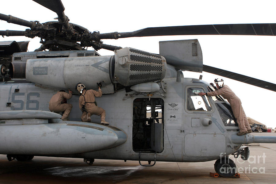 U.s. Marines Perform Preflight Checks Photograph