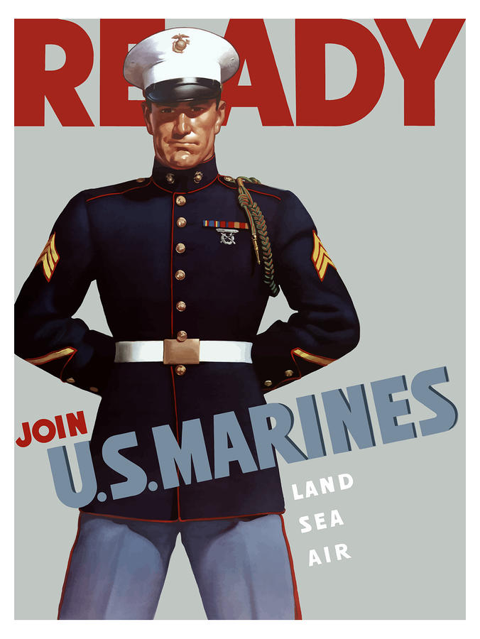Us Marines Ready Painting  - Us Marines Ready Fine Art Print