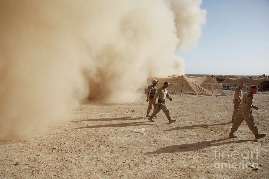 U.s. Marines Walk Away From A Dust Photograph  - U.s. Marines Walk Away From A Dust Fine Art Print