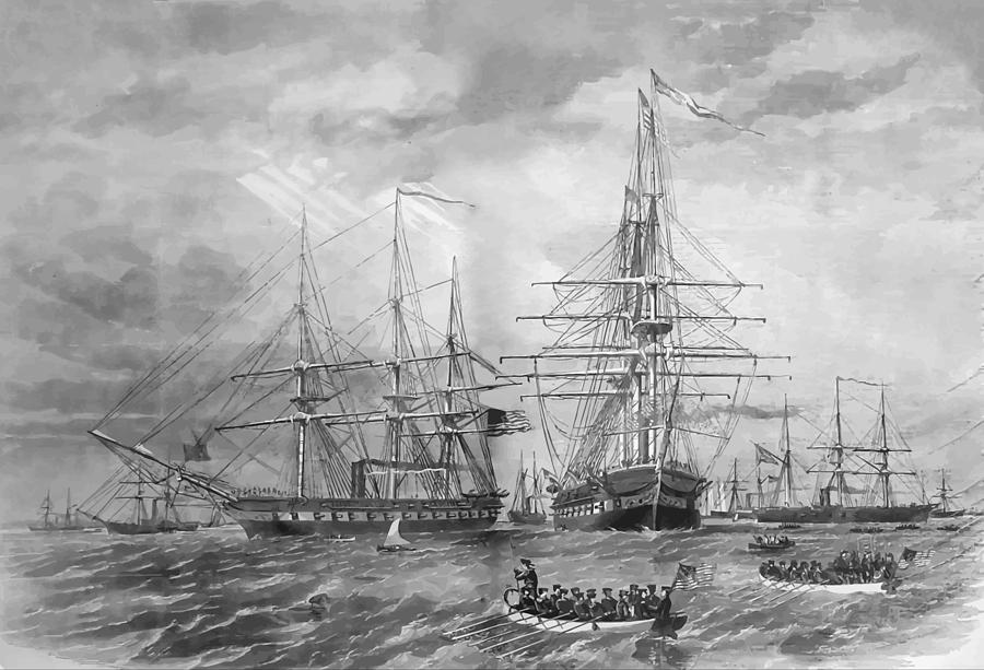 U.s. Naval Fleet During The Civil War Painting  - U.s. Naval Fleet During The Civil War Fine Art Print