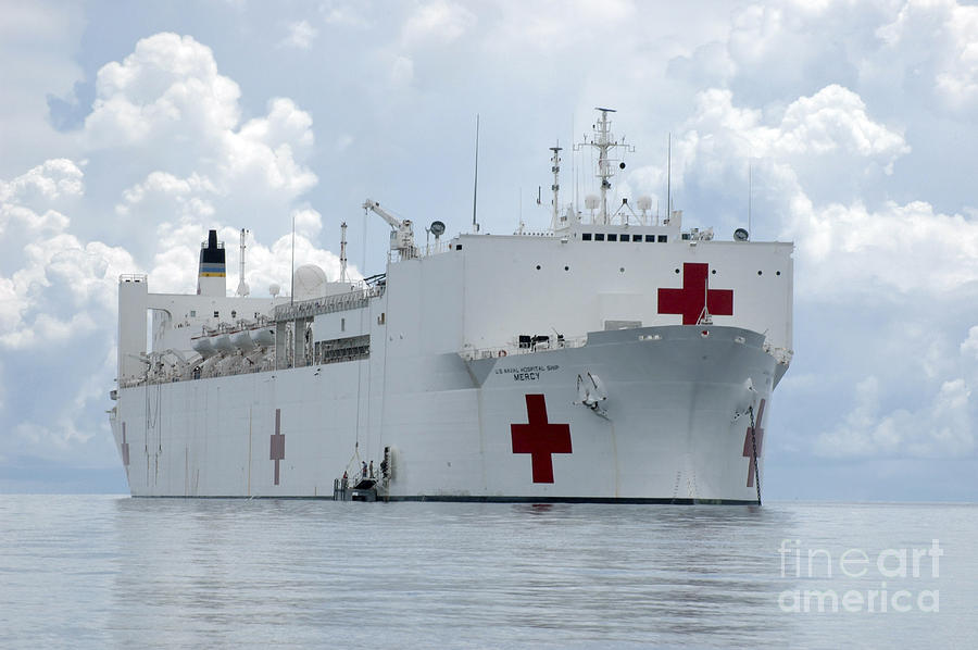 U.s. Naval Hospital Ship Usns Mercy Photograph  - U.s. Naval Hospital Ship Usns Mercy Fine Art Print