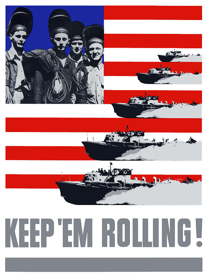 Us Navy Keep em Rolling Painting