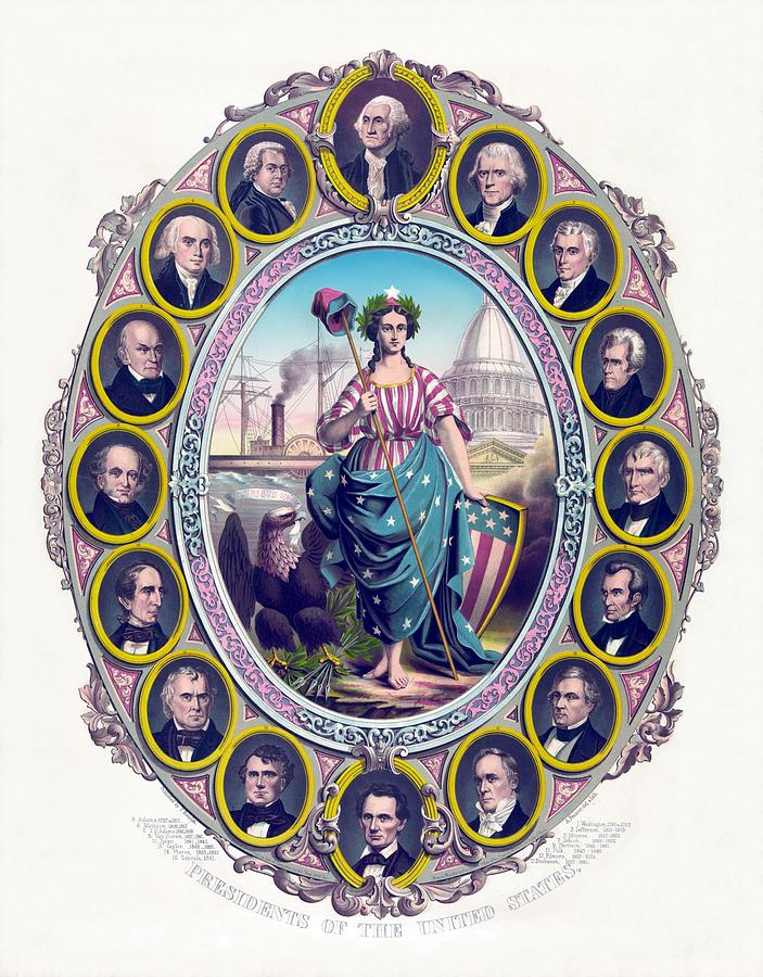 Us Presidents And Lady Liberty  Drawing  - Us Presidents And Lady Liberty  Fine Art Print
