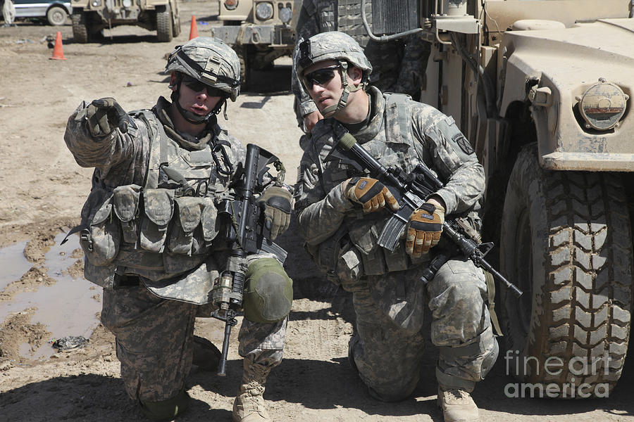 U.s. Soldiers Coordinate Security Photograph  - U.s. Soldiers Coordinate Security Fine Art Print