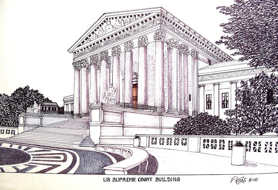 Us Supreme Court Building Drawing  - Us Supreme Court Building Fine Art Print