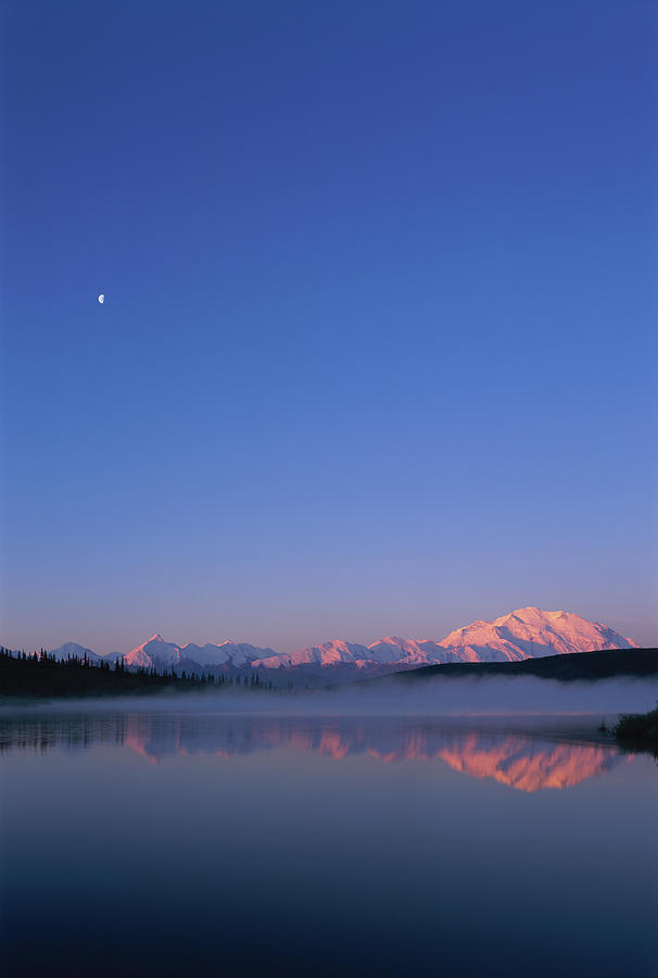 Usa, Alaska, Mount Mckinley As Seen From Wonder Lake After Sunrise Photograph  - Usa, Alaska, Mount Mckinley As Seen From Wonder Lake After Sunrise Fine Art Print