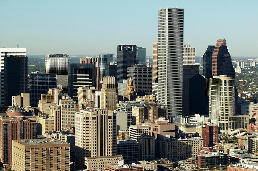 Horizontal Photograph - Usa, Texas, Houston, Dwontown, Aerial View by George Doyle