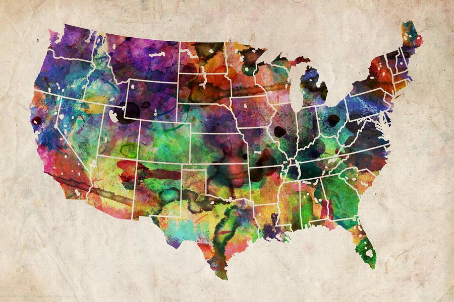 Usa Watercolor Map Digital Art