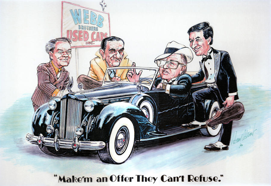 Caricatures Drawing - Used Car Salesmen by Harry West