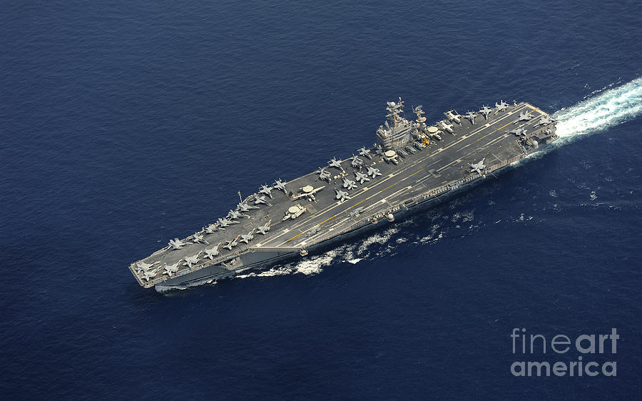 Uss Abraham Lincoln Transits The Indian Photograph  - Uss Abraham Lincoln Transits The Indian Fine Art Print