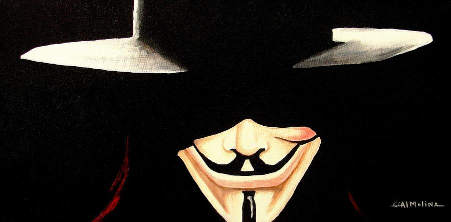 V For Vendetta Painting  - V For Vendetta Fine Art Print
