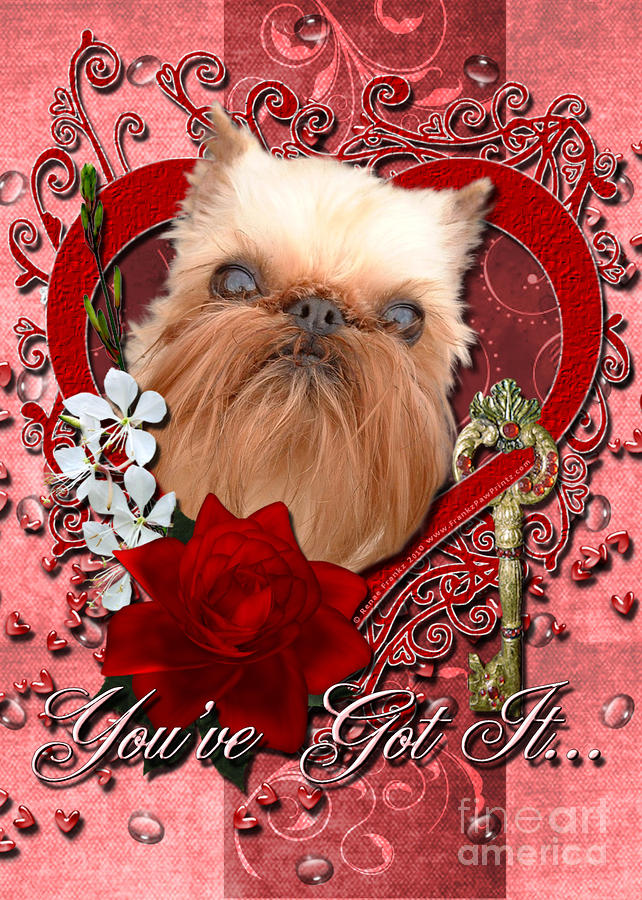Valentines - Key To My Heart Brussels Griffon Digital Art  - Valentines - Key To My Heart Brussels Griffon Fine Art Print