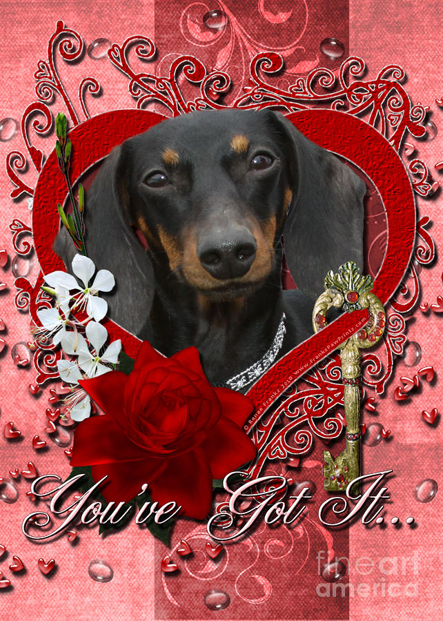 Valentines - Key To My Heart Dachshund Digital Art