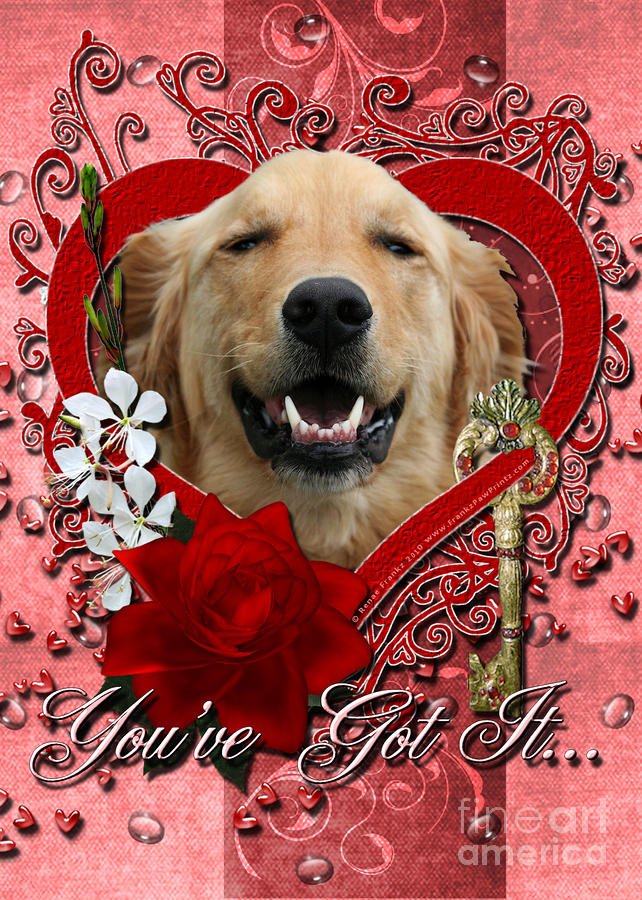 Valentines - Key To My Heart Golden Retriever Digital Art