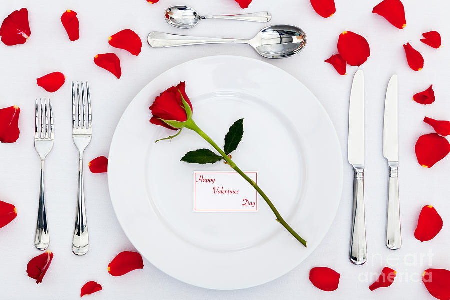 Valentines Place Setting With Red Rose And Petals