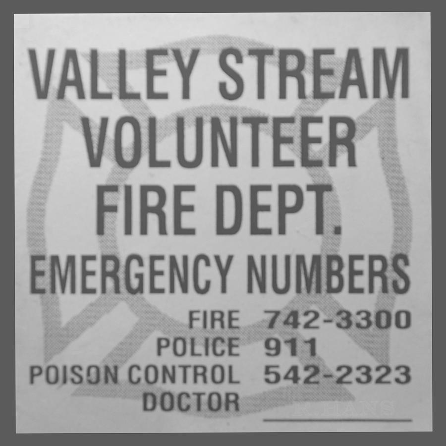 Valley Stream Fire Department In Black And White Photograph  - Valley Stream Fire Department In Black And White Fine Art Print
