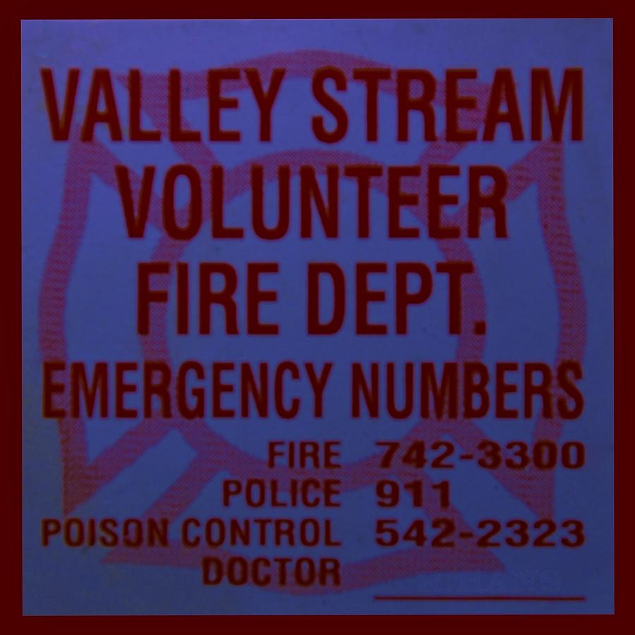 Valley Stream Fire Department In Blue Photograph  - Valley Stream Fire Department In Blue Fine Art Print