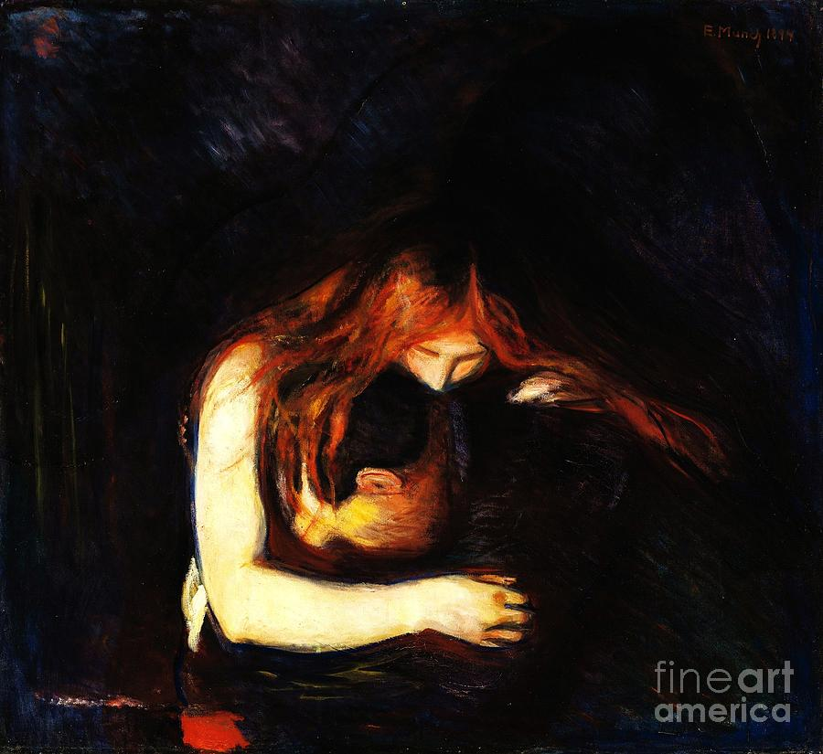 Vampire Love And Pain Painting by Pg Reproductions