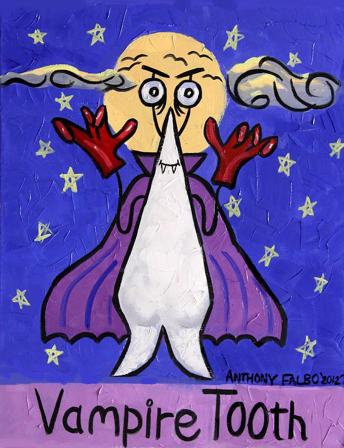 Dental Art Dentist Prints Posters Fine Art Canvas Giclee Prints Sleepy Tooth International Cubism Cubist Expressionist Fine Art Acrylic Prints Paper Prints Anthony Falbo Famous Art Falboart Blues Purples Black Yellow Sweet Tooth Teeth Wisdom Tooth  Painting - Vampire Tooth by Anthony Falbo