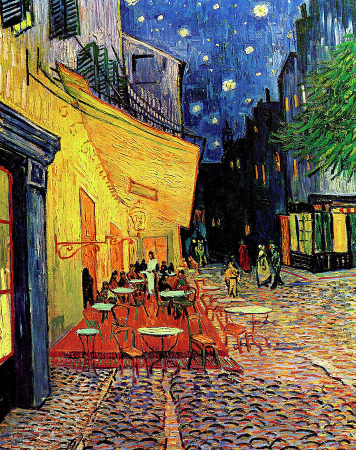 Van Gogh Cafe Terrace Place Du Forum At Night Painting  - Van Gogh Cafe Terrace Place Du Forum At Night Fine Art Print